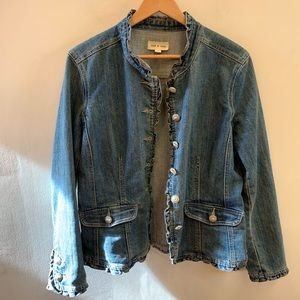 Cloth and stone Ruffled Button Front Denim Jacket